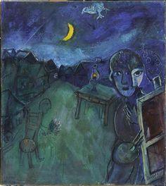 Marc Chagall, La route de Cranberry Lake Huile sur toile, 46 x 41 cm