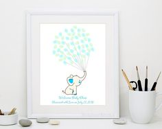 Elephant Fingerprint Balloons Guest Book for Baby Shower Birthday - Digital Printable Personalized Print - Original Kid Thumbprint Guestbook