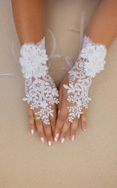 Wedding Glove white lace gloves Fingerless Glove by WEDDINGHome, $35.00