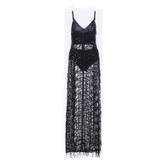 Yoins Tassels Sequins Splited Hem Maxi Slip Dress in Black (€32) ❤ liked on Polyvore featuring dresses, maxi dresses, v neck maxi dress, bodycon dress, spaghetti strap maxi dress and slit maxi dress