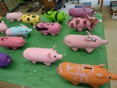 The campers made these paper mache piggy banks using 2 liter soda bottles, egg cartons and acrylic paint- they are very cute!