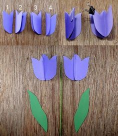 Here you can see how you can easily find such beautiful tulips made of paper . - Here you can see how you can easily make such beautiful paper tulips yourself. Kids Crafts, Easter Crafts, Diy And Crafts, Arts And Crafts, Mothers Day Crafts, Creative Thinking, Diy Birthday, Spring Crafts, Flower Crafts