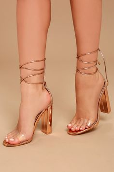 953faecfff1 Maricela Rose Gold Patent Lace-Up Heels