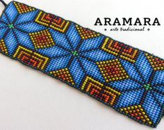 Mexican Huichol Loom Beaded Star Bracelet by Aramara Bead Loom Patterns, Peyote Patterns, Bracelet Patterns, Beading Patterns, Cross Stitch Patterns, Beading Tutorials, Native Beadwork, Native American Beadwork, Peg Loom