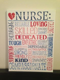 Subway Art Canvas - Words That Describe a Nurse 'Rustic' Looking Sign. Gift for rn, lpn, cna, md , Nursing Student, Nurse. Co Worker.
