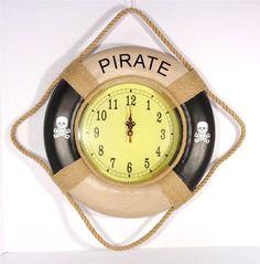 NAUTICAL PIRATE LIFE SAVING ROPE BUOY CLOCK MARITIME SAILING WALL CLOCK ARTWORK
