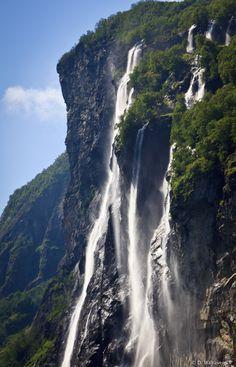 The Seven Sisters Waterfall by Dirk Walravens, via 500px; Geirangerfjord, Norway, National Heritage Site