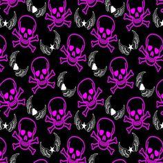 RO294 SKULL & CROSSBONES FLO PINK/BLACK BASE | Printed Lycra Fabric | Printed Fabric | Stretch Fabric | Funki Fabrics | Halloween