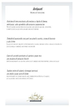 A la carte menu - Pasta Lemon Leaves, Menu, Sweet Sauce, Romantic Dinners, Pasta, Cards, Menu Board Design, Sweet Salsa, Noodles