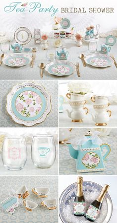 Transport your guests to the middle of an English garden with tea party bridal shower favors and pastel floral bridal shower table decor.