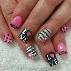 Give fashion to your nails with the help of nail art designs. Donned by fashion-forward celebs, these kinds of nail designs can incorporate instantaneous style to your outfit. Valentine's Day Nail Designs, Simple Nail Art Designs, Beautiful Nail Designs, Nails Design, Heart Nail Designs, Love Nails, Pink Nails, Pretty Nails, My Nails