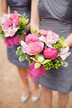 gray bridesmaid dresses + pastel pink florals