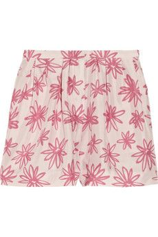 Floral-print silk shorts by Nina Ricci