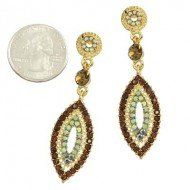 "Amazon.com: Designer Inspired Chandelier Earring / Color: Topaz / Rhinestones / Gold Plated / Length: 2 1/4"": Jewelry"