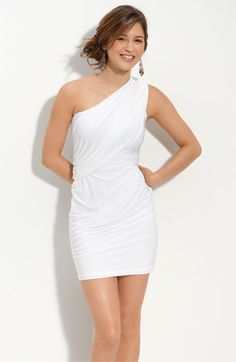 Forever 21 White Peplum Dress | This simple white one shoulder dress will make any collegiate look ...