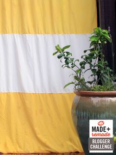 Make yellow and white striped outdoor curtains (secret ingredient: the yellow is dyed with turmeric!) >> http://blog.diynetwork.com/maderemade/how-to/turn-indoor-curtains-into-outdoor-curtains?soc=pinterest