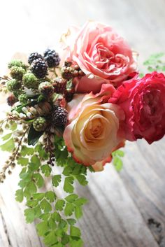 Carondelet House Wedding  Small mother's bouquets of roses, raspberries, maidenhair fern and andromeda