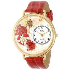 Whimsical Unisex Valentine's Day Red Red Leather Watch. #valentinesday #bemyvalentine #love