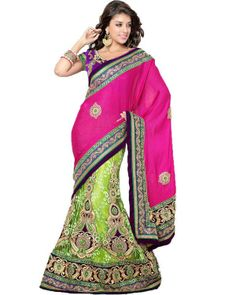#Lehenga Add glamour to your style with designer Lehenga Sarees. Complete range of fresh designs available on Ethnic Station.