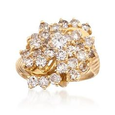 Ross-Simons - C. 1980 Vintage 3.00 ct. t.w. Diamond Cluster Ring in 14kt Yellow Gold. Size 6.5 - #841443