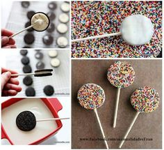 Food and drink children's birthday Oreo Pops, Chocolate Dipped Oreos, Christmas Gifts, Christmas Decorations, Cookie Pops, Party Treats, Bake Sale, Candy Buffet, Unicorn Party
