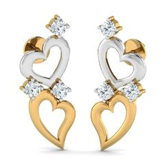 Decked up Hearts Studs The combination of sparkling signity CZ stones and yellow gold and white gold hearts is totally alluring. Whether it's a sari or any traditional attire, these studs are a winner!