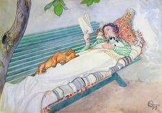 """""""Woman Lying on a Bench, by Carl Larsson dachshund Carl Larsson, Reading Art, Woman Reading, Reading Practice, Reading Books, Alphonse Mucha, Moritz Von Schwind, Arte Fashion, Lectures"""