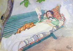 """Carl Larsson """"Saturday. Woman Lying on a Bench""""(1913) カール・ラーション 「ベンチに横たわる婦人」"""