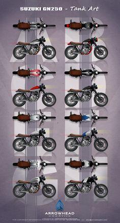 Suzuki GN250 - Tank Art Suzuki Cafe Racer, Cafe Racers, Suzuki Gn 125, Custom Bikes, Tins, Motorbikes, Badass, Style, Cool Bikes