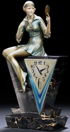 Art Deco - clock 'Femme au Poudrier' - Ferdinand Preiss - 1930.