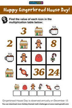 Are Your Students Ready for These Gingerbread House Day Math Puzzles? — Mashup Math Are Your Students Ready for These Gingerbread House Day Math Puzzles? Math Coloring Worksheets, Free Printable Math Worksheets, 2nd Grade Math Worksheets, Math Workbook, Third Grade Math, Mental Maths Tests, Math Test, Maths Puzzles, Math Activities