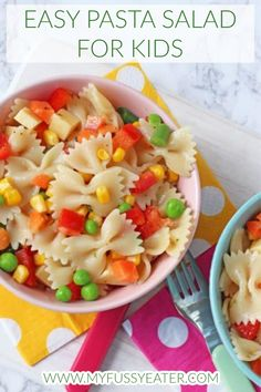 Feeding kids this summer is super easy with this delicious and quick Vegetable Pasta Salad recipe! The recipe is packed full of veggies. I've used a combination of chopped frozen vegetables that will cook really quickly and also some fresh ones too. It's perfect to make for dinner and is also great to pack up and take out on about on picnic lunches too. Delicious! #pastasaladforkids #easypastasalad Quick Pasta Salad Recipe, Pasta Salad For Kids, Vegetarian Pasta Salad, Pasta Recipes For Kids, Kids Pasta, Salads For Kids, Vegetable Pasta Salads, Easy Meals For Kids, Pasta Salad Recipes