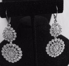 Vintage Art Deco Clear Rhinestone Chandelier Earrings, Lever Back Vintage Dangles, Bridal or Wedding Earrings, Over 2 Inches Long