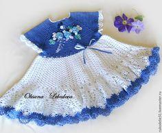 Купить Платье детское летнее Гжель вязаное крючком из хлопка синий белый - васильковый