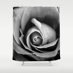 Buy Shower Curtains featuring Black and White Rose  by xiari photography. Made from 100% easy care polyester our designer shower curtains are printed in the USA and feature a 12 button-hole top for simple hanging.black and white, black, white, gray , rose, flower, bloom, season, spring, love, lovers, grayscale, nature, flower, flowers, white, landscape, nature lover, garden, outdoor, art print, art, photography, photo, photographer, valentine's, gift, duvet, phone case, iphone, vintage…