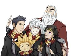 ROTG Hogwarts. But come on! They're not all Gryffindor! North and Bunny would be, Sandy would be Hufflepuff, Tooth would be Ravenclaw, and Jack would clearly be Slytherin.