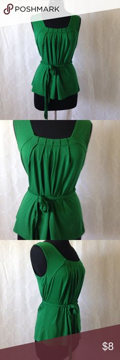 3/$15 Green Loft top with tie belt. Really stylish, great color, great condition, no flaws. 3/$15 or $8 if sold separately LOFT Tops