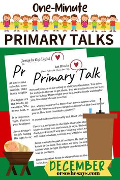 Primary Talk Pages for Children ~ December 2019 Primary Talks, Lds Talks, Lds Primary, Childrens Ministry Christmas, Come Unto Me, Family Home Evening, Church Activities, Visiting Teaching, Birth Of Jesus