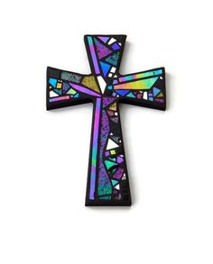 "Mosaic Wall Cross, Black with Iridescent + Textured Glass + Silver Mirror, Handmade Stained Glass Mosaic Design, 12"" x 8"" by GreenBananaMosaicCo"