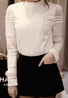 White Plain Hollow-out Band Collar Sweet Blouse