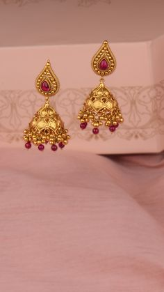 AZVA handcrafted gold earrings with vibrant stones Gold Jhumka Earrings, Gold Bridal Earrings, Gold Earrings Designs, Gold Jewellery Design, Gold Buttalu, Gold Jewelry Simple, Indian Earrings, Jewelry Findings