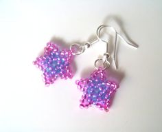 Handmade Beaded Star Earrings Purple & Pink Star by 29Moonbeams