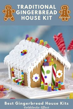 We made it easier for you. No need to roll, cut, bake, or even glue house. You can just dive right into the fun! The kit contains everything you need for decorating including assembled house, 3 types of candies, white ready-to-use icing, 1 decorating bag with tip & Candy cup Holders. From traditional gingerbread houses to campers, trains and lighthouses, we've found some truly unique gingerbread decorating kits. #gingerbreadhouse #gingerbread #gingerbreadhousekit Best Gingerbread House Kit, Gingerbread Cookie Mix, Cardboard Gingerbread House, Cool Gingerbread Houses, Classic Holiday Movies, Pop Up Play, Types Of Candy, Cookie House, Baking Set
