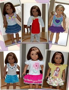 Build-A-Bear clothes altered to fit American Girl Dolls.