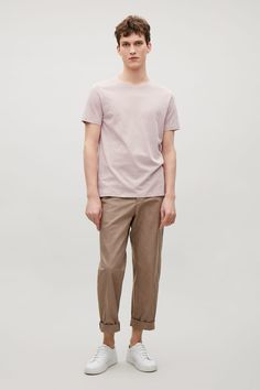 COS Round-neck t-shirt in Pale Pink