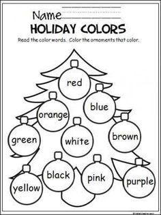 Holiday colors coloring free printable worksheet