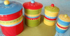 Bright Fiesta Canister Set. $65.00, via Etsy.