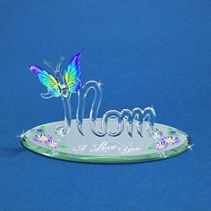 """Glass Baron """"I Love You"""" Mom with Butterfly #mom #mothersday #glassbaron #butterfly"""