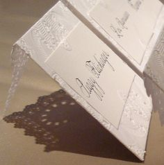 lace place cards / escort cards