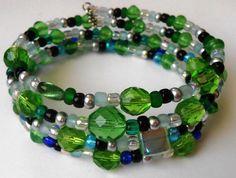 New jewelry - unique, handmade bead memory wire bracelet! Green Fade to Blue Memory Wire Bracelet by VineDesignBeads on Etsy, $16.00